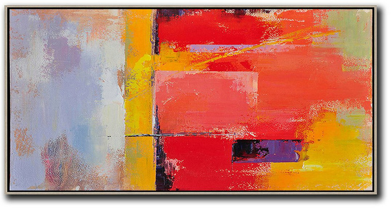 Horizontal Palette Knife Contemporary Art Panoramic Canvas Painting,Canvas Artwork For Sale,Red,Yellow,Purple,Pink