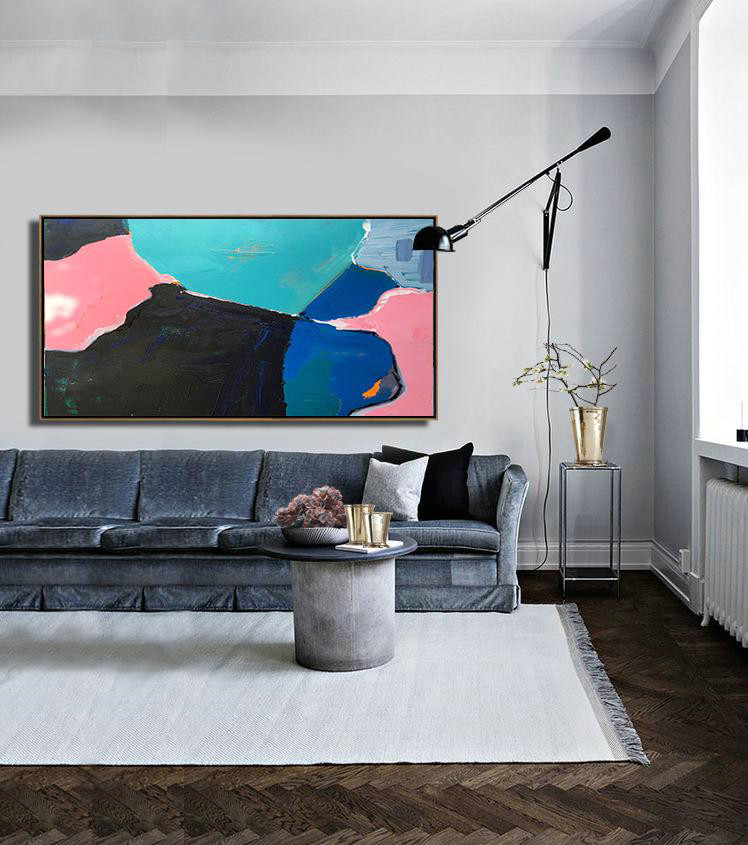 Horizontal Palette Knife Contemporary Art Panoramic Canvas Painting,Original Abstract Painting Canvas Art,Pink,Grey,Lake Blue,Black,Blue