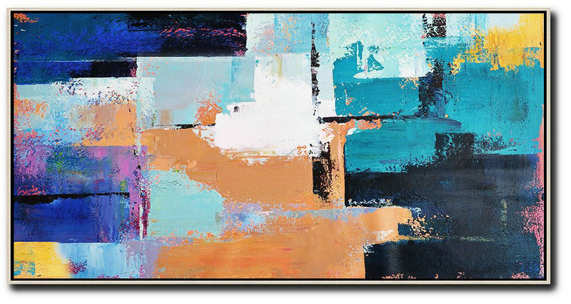 Horizontal Palette Knife Contemporary Art Panoramic Canvas Painting,Hand Painted Aclylic Painting On Canvas,White,Lake Blue,Blue,Black,Earthy Yellow