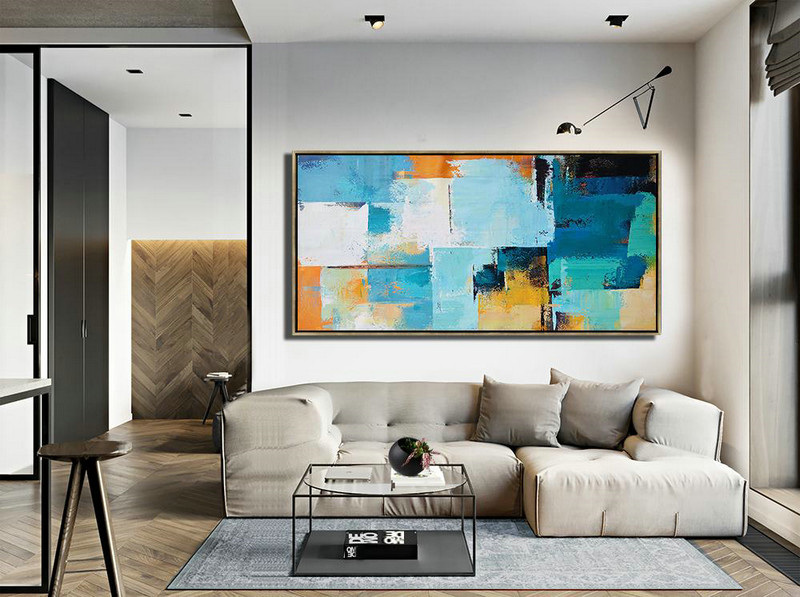 Horizontal Palette Knife Contemporary Art Panoramic Canvas Painting,Modern Art Abstract Painting,White,Blue,Yellow,Orange