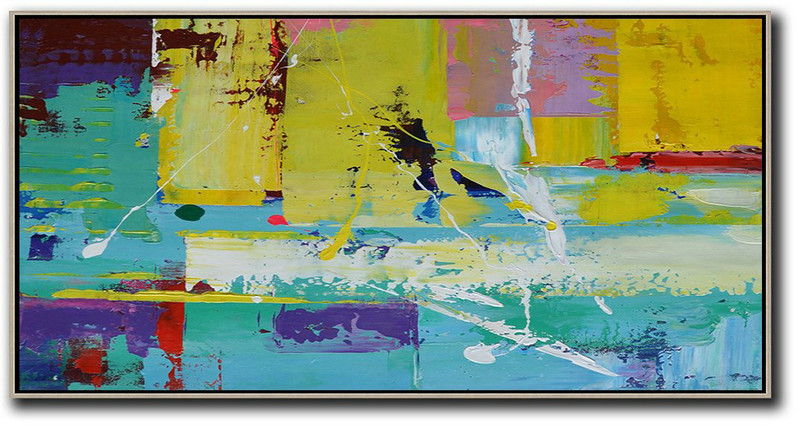 Horizontal Palette Knife Contemporary Art Panoramic Canvas Painting,Acrylic Painting Wall Art,Yellow,Pink,White,Blue,Purple