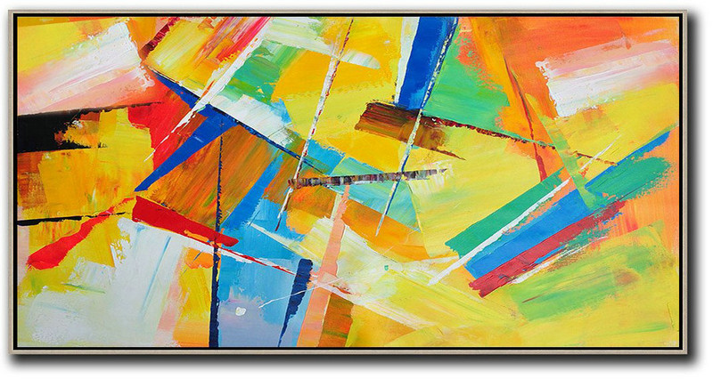 Horizontal Palette Knife Contemporary Art Panoramic Canvas Painting,Acrylic Painting On Canvas,Yellow,Red,White,Blue,Green