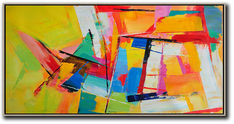 Horizontal Palette Knife Contemporary Art Panoramic Canvas Painting Wall Art Ideas For Living Room Yellow Red White Blue Big Canvas Art