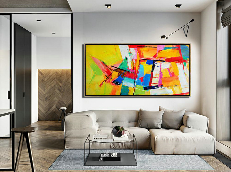 Horizontal Palette Knife Contemporary Art Panoramic Canvas