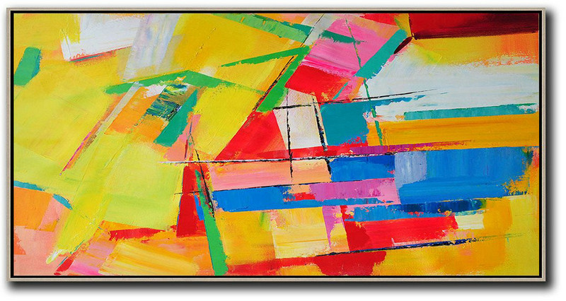 Horizontal Palette Knife Contemporary Art Panoramic Canvas Painting,Huge Abstract Canvas Art,Yellow,Red,White,Blue