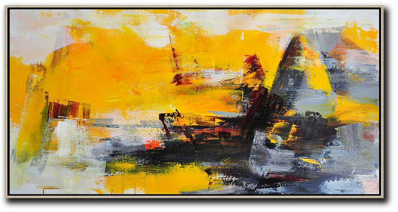 Horizontal Palette Knife Contemporary Art Panoramic Canvas Painting,Custom Canvas Wall Art,Yellow,Grey,Black