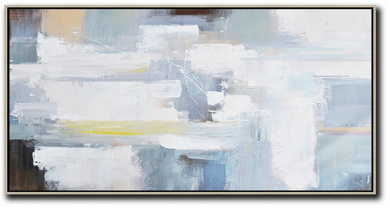 Horizontal Palette Knife Contemporary Art Panoramic Canvas Painting,Acrylic Painting Large Wall Art,White,Grey,Yellow,Brown