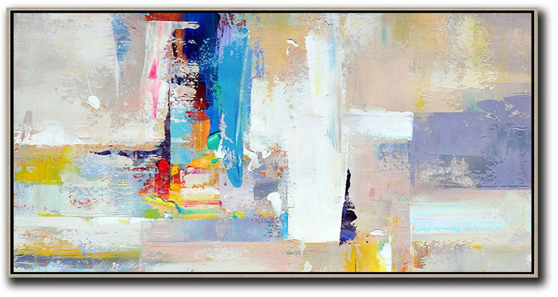 Horizontal Palette Knife Contemporary Art Panoramic Canvas Painting,Large Oil Canvas Art,Grey,White,Blue,Purple