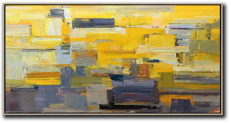 Horizontal Palette Knife Contemporary Art Panoramic Canvas Painting,Wall Art Painting,Yellow,Grey,Brown,White