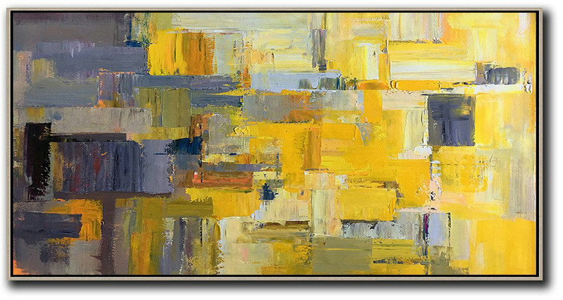 Horizontal Palette Knife Contemporary Art Panoramic Canvas Painting,Colorful Wall Art,Yellow,Grey,Brown,White