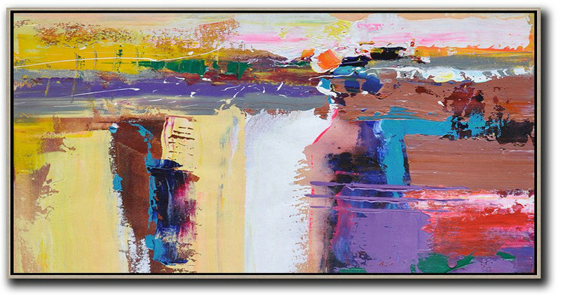 Horizontal Palette Knife Contemporary Art Panoramic Canvas Painting,Hand Made Original Art,Yellow,White,Brown,Purple