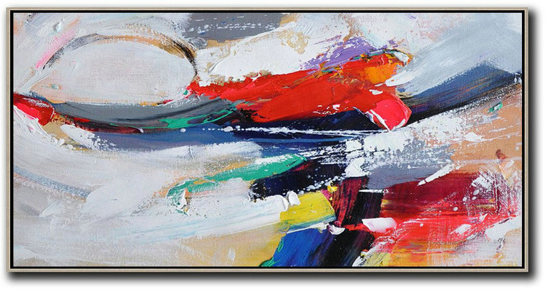 Horizontal Palette Knife Contemporary Art Panoramic Canvas Painting,Hand Painted Abstract Art,White,Red,Grey,Dark Blue