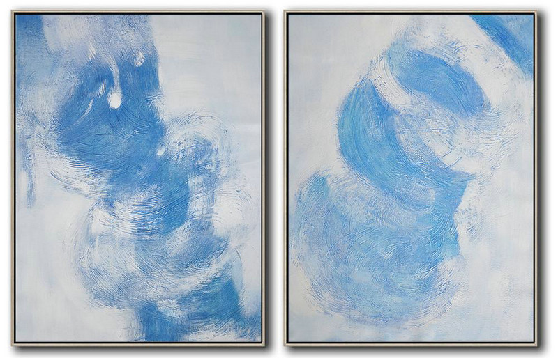 Set Of 2 Blue Contemporary Painting,Modern Painting Abstract,Grey,White,Blue