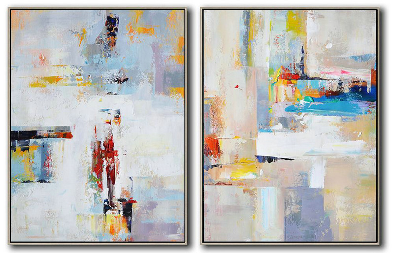 Set Of 2 Contemporary Art,Abstract Art On Canvas, Modern Art,White,Purple,Red,Grey,Yellow