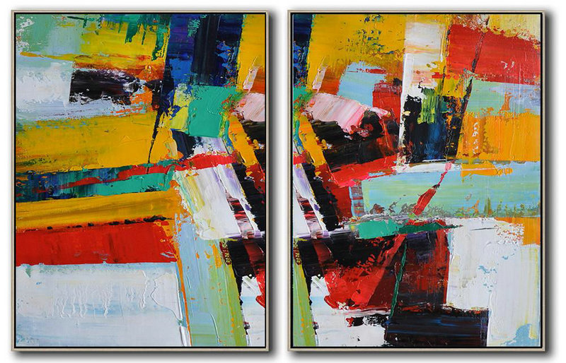 Set Of 2 Contemporary Art,Custom Canvas Wall Art,Red,Yellow,Light Green,White,Black