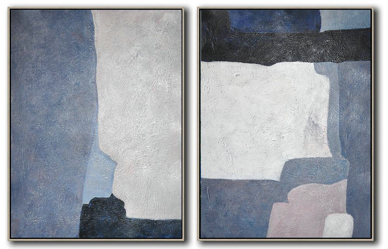 Set Of 2 Contemporary Art,Abstract Art On Canvas, Modern Art,Black,Dark Blue,Violet Ash,White