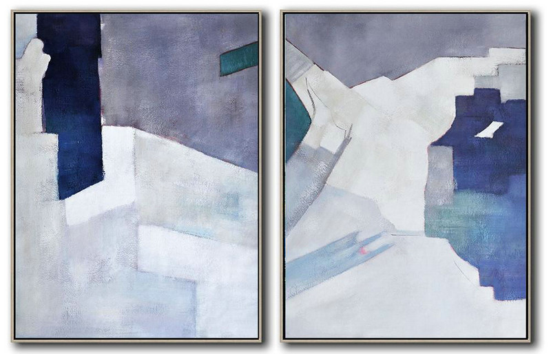 Set Of 2 Contemporary Art,Large Contemporary Art Canvas Painting,White,Grey,Dark Blue