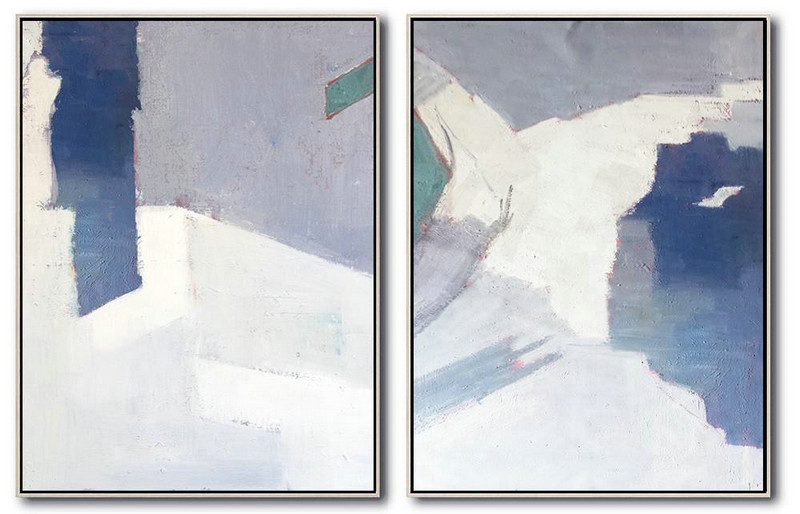 Set Of 2 Contemporary Art,Acrylic On Canvas Abstract,White,Grey,Blue