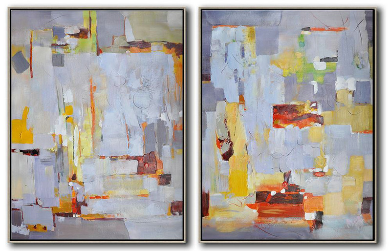 Set Of 2 Contemporary Art,Oversized Art,Grey,White,Yellow,Red