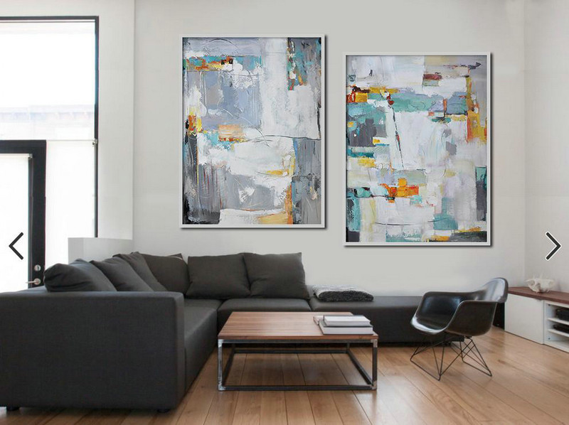 Set Of 2 Contemporary Art,Acrylic Painting Canvas Art,White,Grey,Yellow