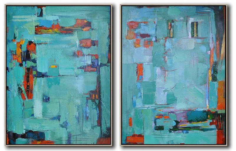 Set Of 2 Contemporary Art,Abstract Artwork Online,Red,Lake Blue,Purple