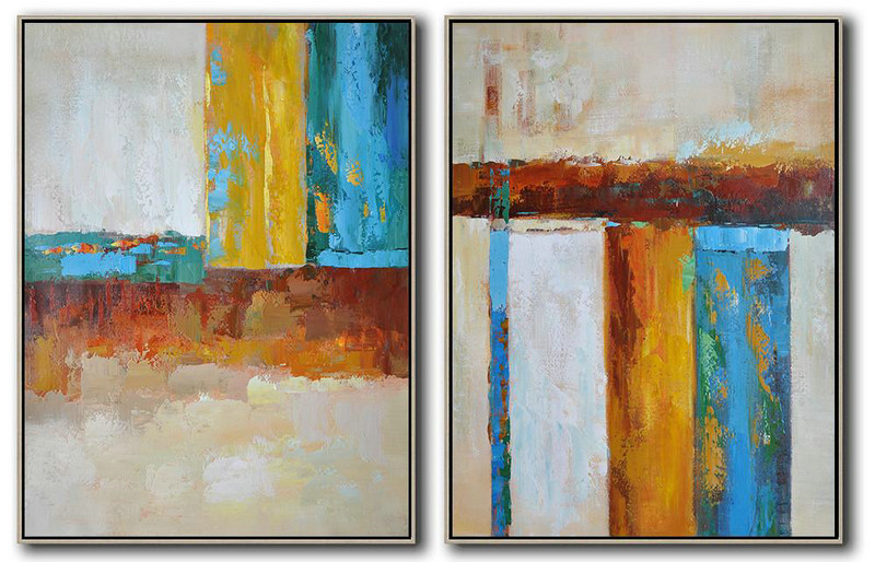 Set Of 2 Contemporary Art,Modern Wall Art,Brown,Yellow,Blue