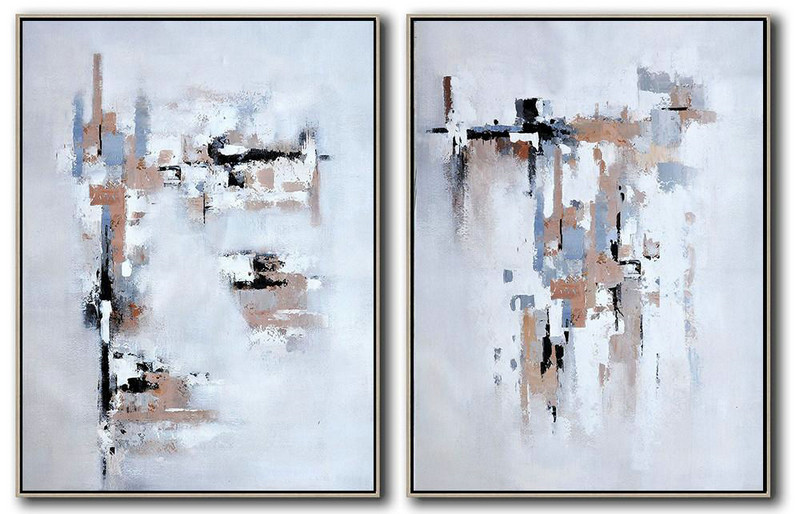 Set Of 2 Contemporary Art,Abstract Paintings On Sale,White,Grey,Black,Earthy Yellow