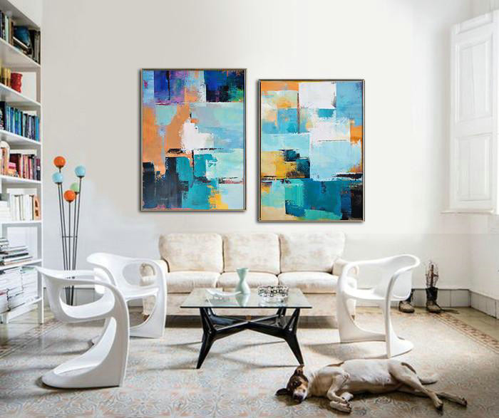 Set Of 2 Contemporary Art,Large Colorful Wall Art,Blue,Yellow,Sky Blue,White,Beige