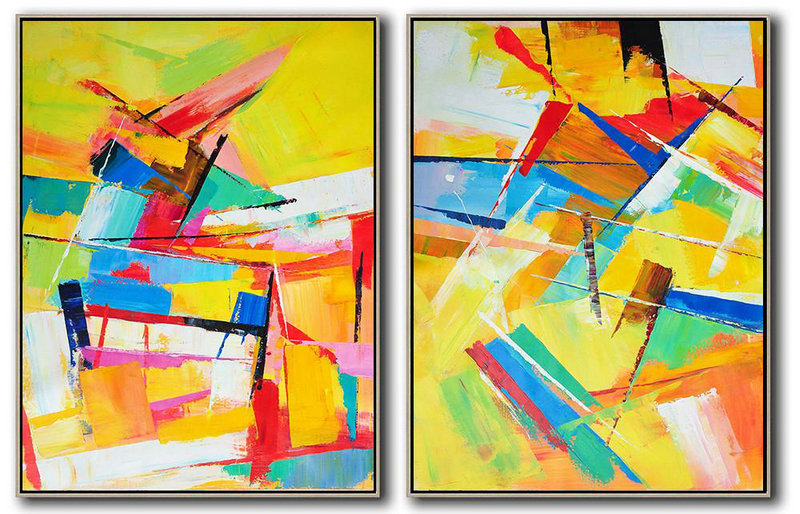 Set Of 2 Contemporary Art,Hand Painted Acrylic Painting,Yellow,Orange,Red,Blue