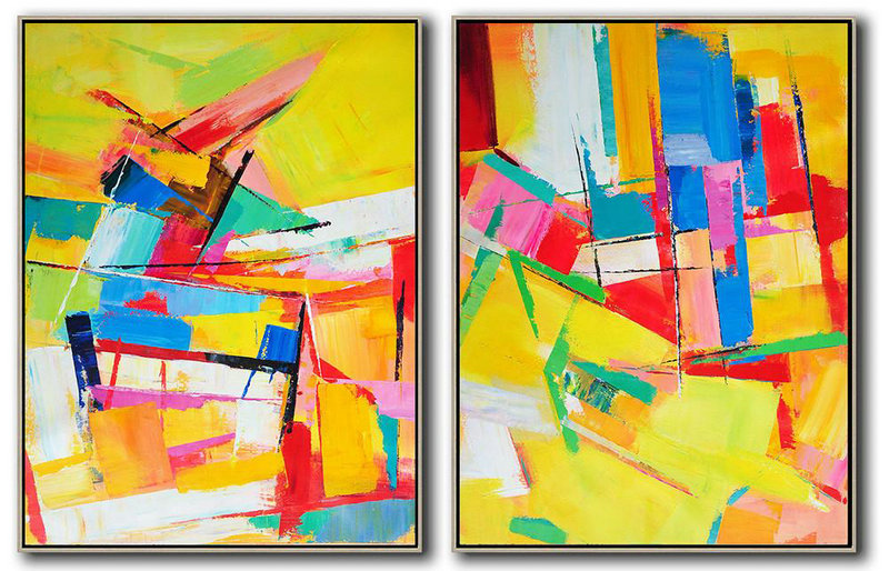 Set Of 2 Contemporary Art,Original Abstract Oil Paintings,Yellow,Red,Blue,Green,Purple