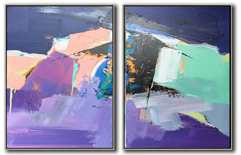 Set Of 2 Contemporary Art,Canvas Wall Art,Dark Blue,Nude,Purple,Light Green,White