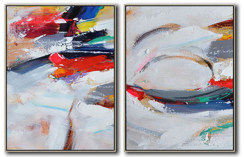 Set Of 2 Contemporary Art,Abstract Art Decor Large Canvas Painting,Grey,White,Dark Blue,Brown,Red