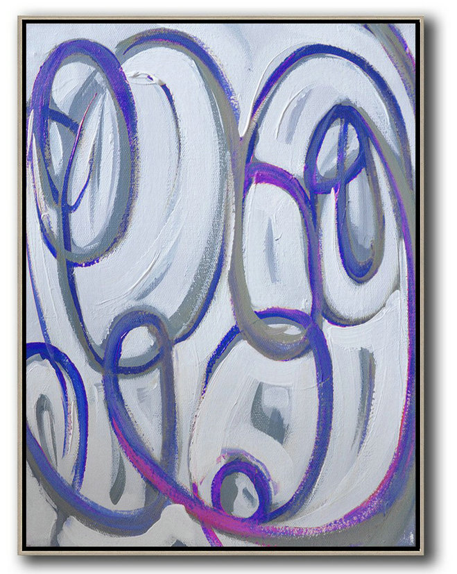 Vertical Contemporary Art,Large Canvas Art,Blue,White,Pink,Purple