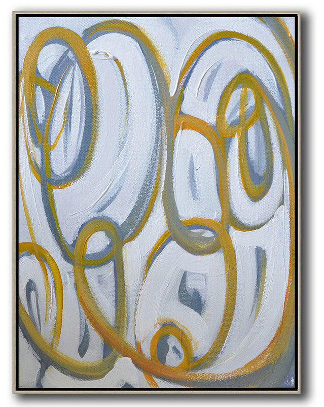 Vertical Contemporary Art,Acrylic Minimailist Painting,Yellow,White,Purple Grey