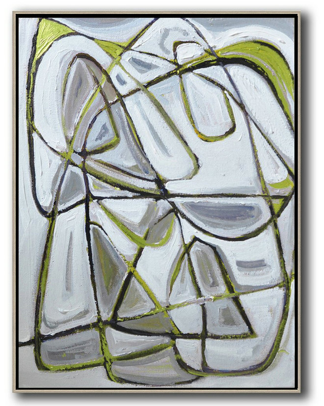 Vertical Contemporary Art,Hand Paint Large Art,Grey,Brown,Light Green,White,Black