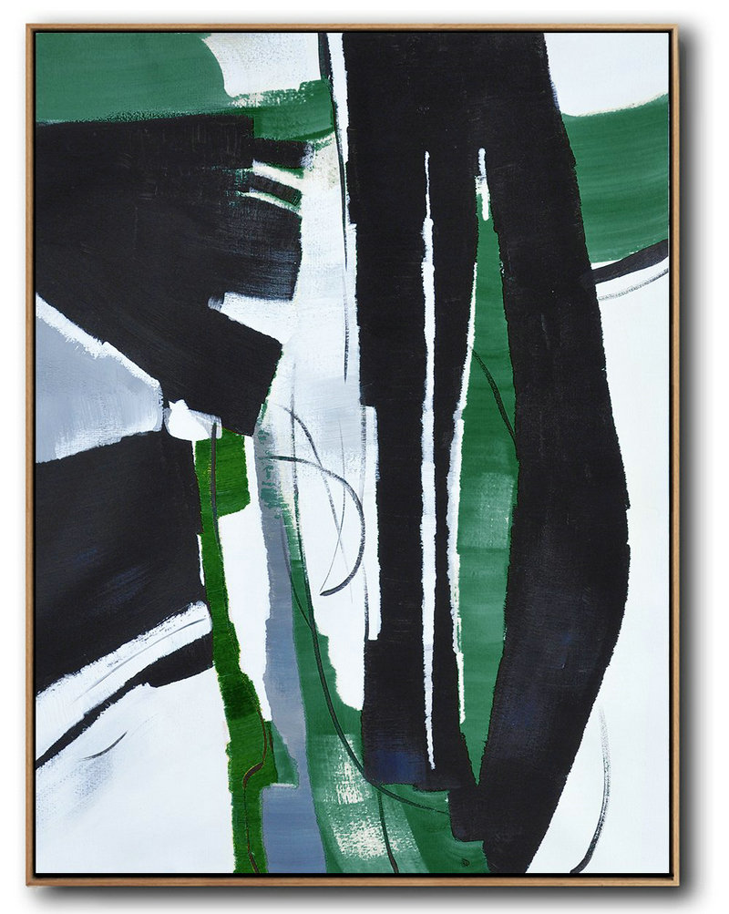 Hand Painted Large Vertical Contemporary Painting,Hand Painted Aclylic Painting On Canvas,Black,Dark Green,White