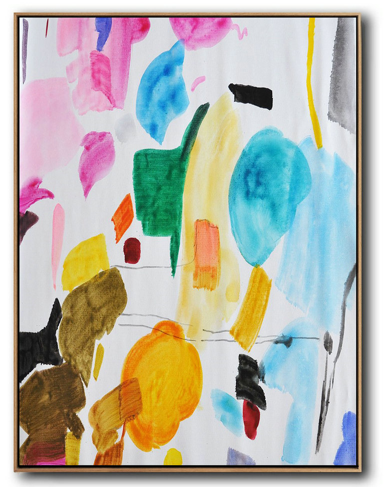 Hand Painted Large Vertical Contemporary Painting,Acrylic Painting On Canvas,Pink,Yellow,Sky Blue,Green,Black,Brown