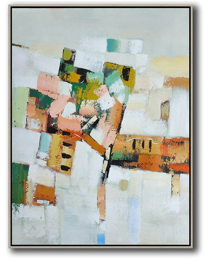 Vertical Palette Knife Contemporary Art,Original Art Acrylic Painting,Grey,White,Yellow,Orange,Pink