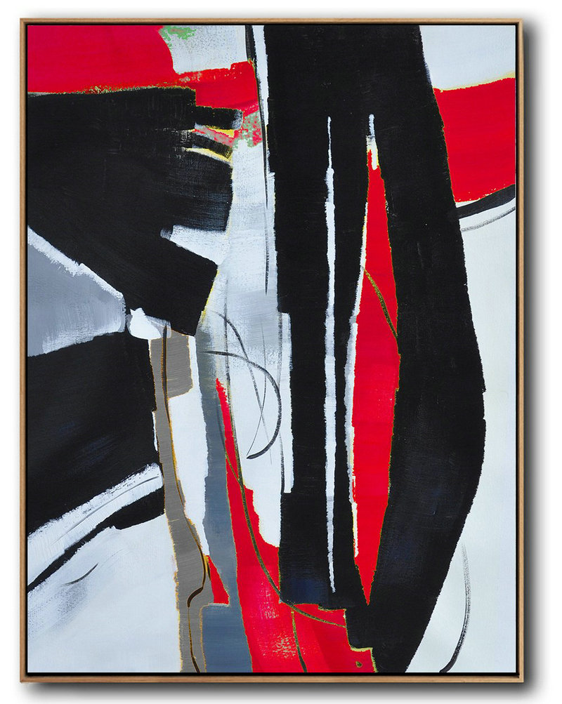 Hand Painted Large Vertical Red Contemporary Painting,Large Abstract Wall Art,Black,White,Red,Grey,Pale Blue