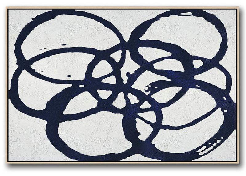 Horizontal Navy Painting Abstract Minimalist Art On Canvas Giant Canvas Wall Art L0k8 Big Canvas Art