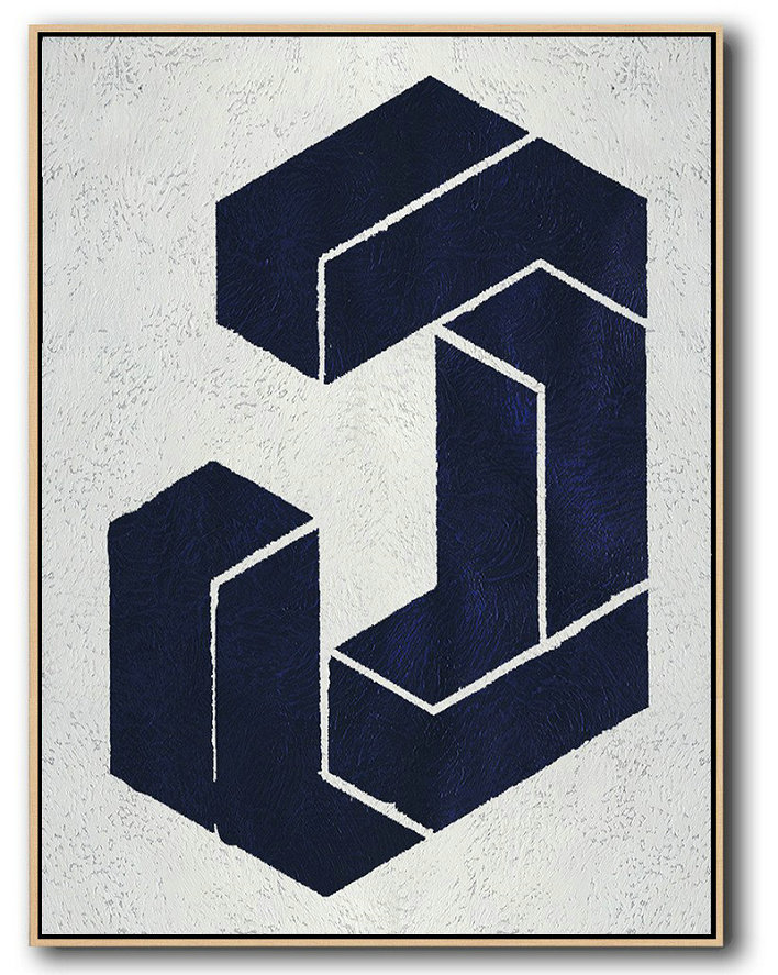 Buy Hand Painted Navy Blue Abstract Painting Online,Textured Painting Canvas Art#B7X1
