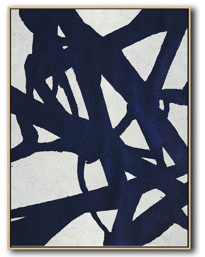 Buy Hand Painted Navy Blue Abstract Painting Online,Textured Painting Canvas Art#E2D1