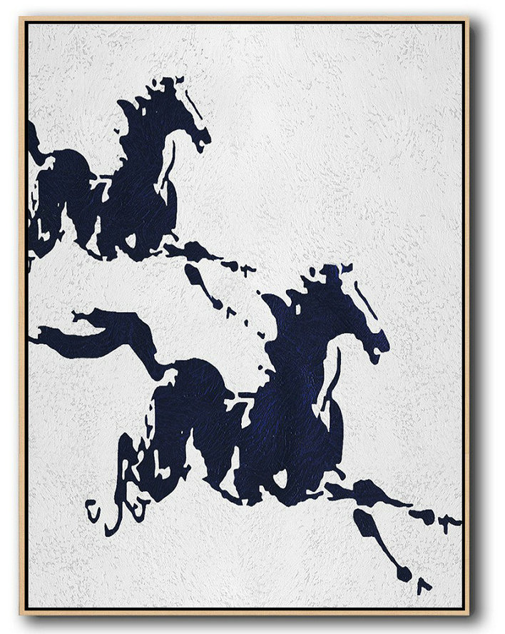 Buy Hand Painted Navy Blue Abstract Painting Online,Giant Canvas Wall Art#T9J6
