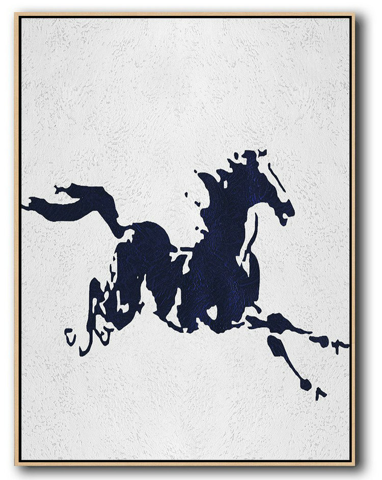 Buy Hand Painted Navy Blue Abstract Painting Online,Living Room Canvas Art#P5E4