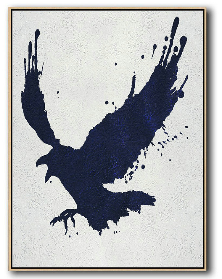 Buy Hand Painted Navy Blue Abstract Painting Online,Canvas Wall Paintings#G3M1
