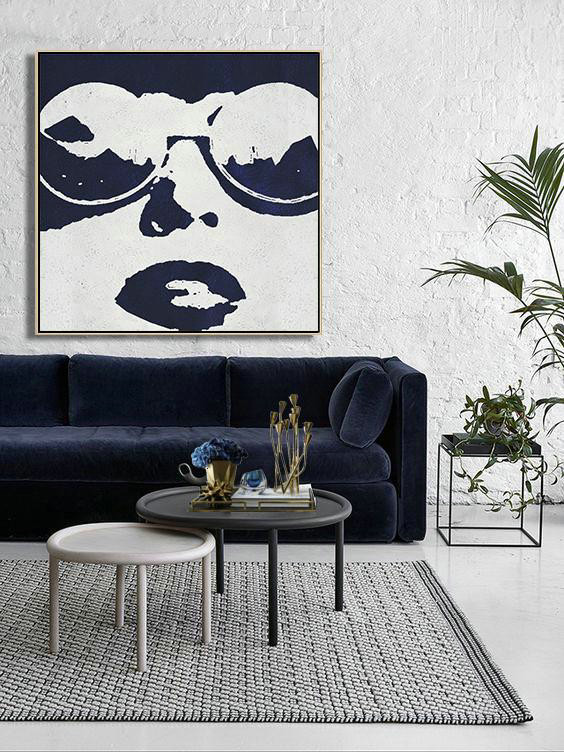 Buy Large Canvas Art Online,Hand Painted Navy Minimalist Painting On Canvas,Modern Paintings#X5F1