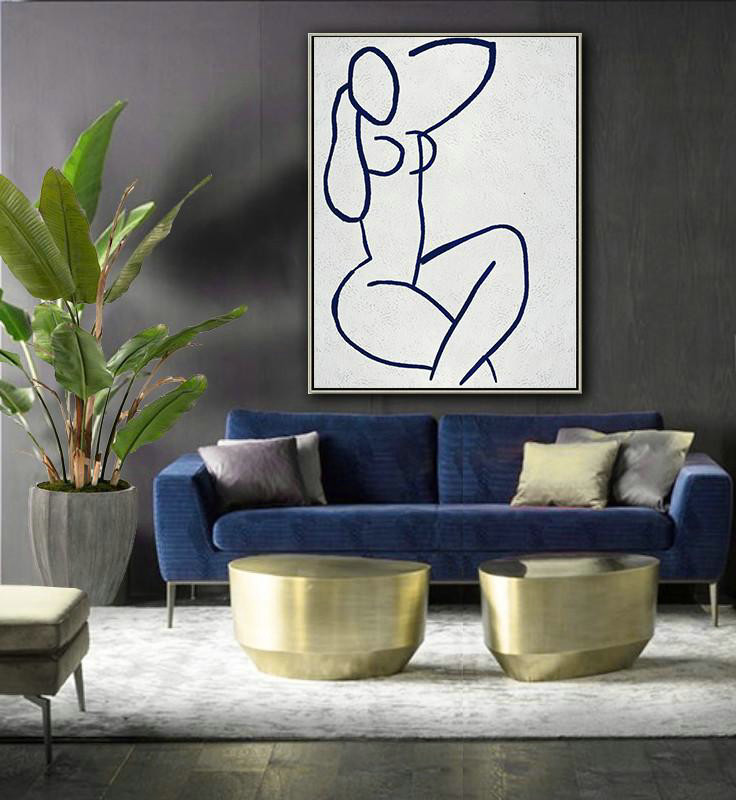 Buy Hand Painted Navy Blue Abstract Painting Nude Art Online,Canvas Wall Art#H8Y7