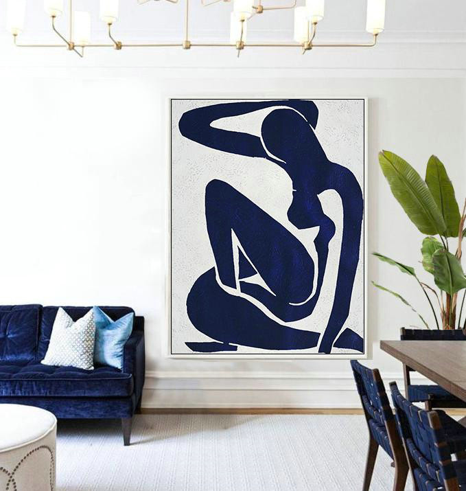 Buy Hand Painted Navy Blue Abstract Painting Nude Art Online,Large Abstract Wall Art#R5Y7 - Click Image to Close