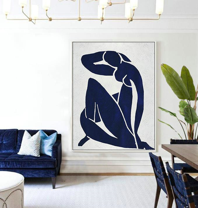 Buy Hand Painted Navy Blue Abstract Painting Nude Art Online,Contemporary Art Acrylic Painting#O8E5