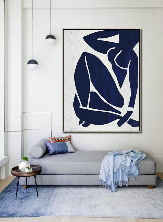 Buy Hand Painted Navy Blue Abstract Painting Nude Art Online,Acrylic Painting On Canvas#D2X0